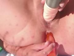 big-dildo-in-big-mature-cunt-outdoors