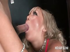 Blonde Asian Bitch Loves Mouth Fucking Loaded Cock
